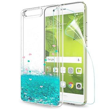 LeYi Funda Huawei P10 Plus Purpurina Carcasa con HD Protectores de Pantalla, Mujer Brillante Transparente TPU Gel Bumper Silicona Fundas Case Carcasas ...