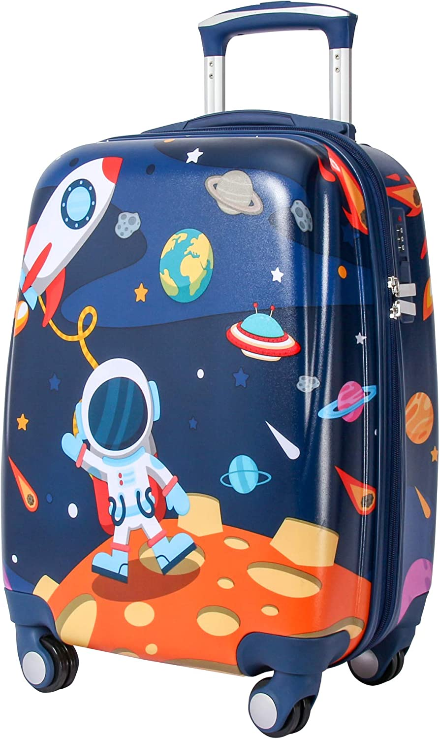 """Four Wheel Suitcase for Boys Aerolite Child Light Rolling Luggage Blue Outspace Pattern 18"""""""