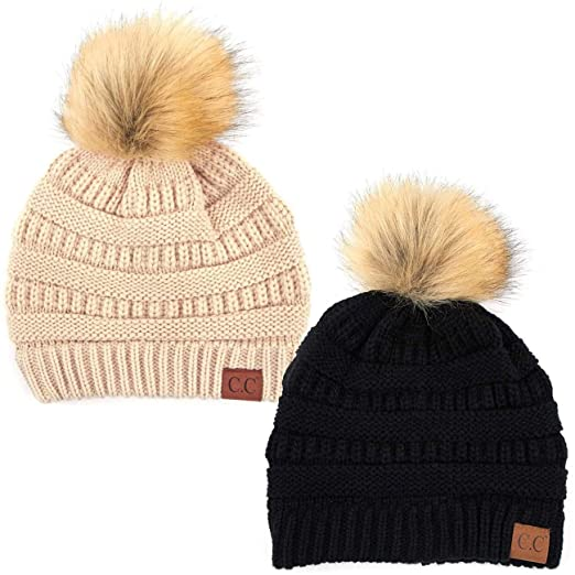 eede2b73 ScarvesMe Soft Stretch Cable Knit Ribbed Faux Fur Pom Pom Beanie Hat