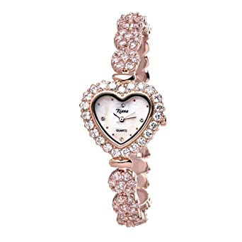 Ladies Luxury Crystal Bracelet Designer Wrist Watch Heart Dial Rose Gold Tone Reloj de Mujer -