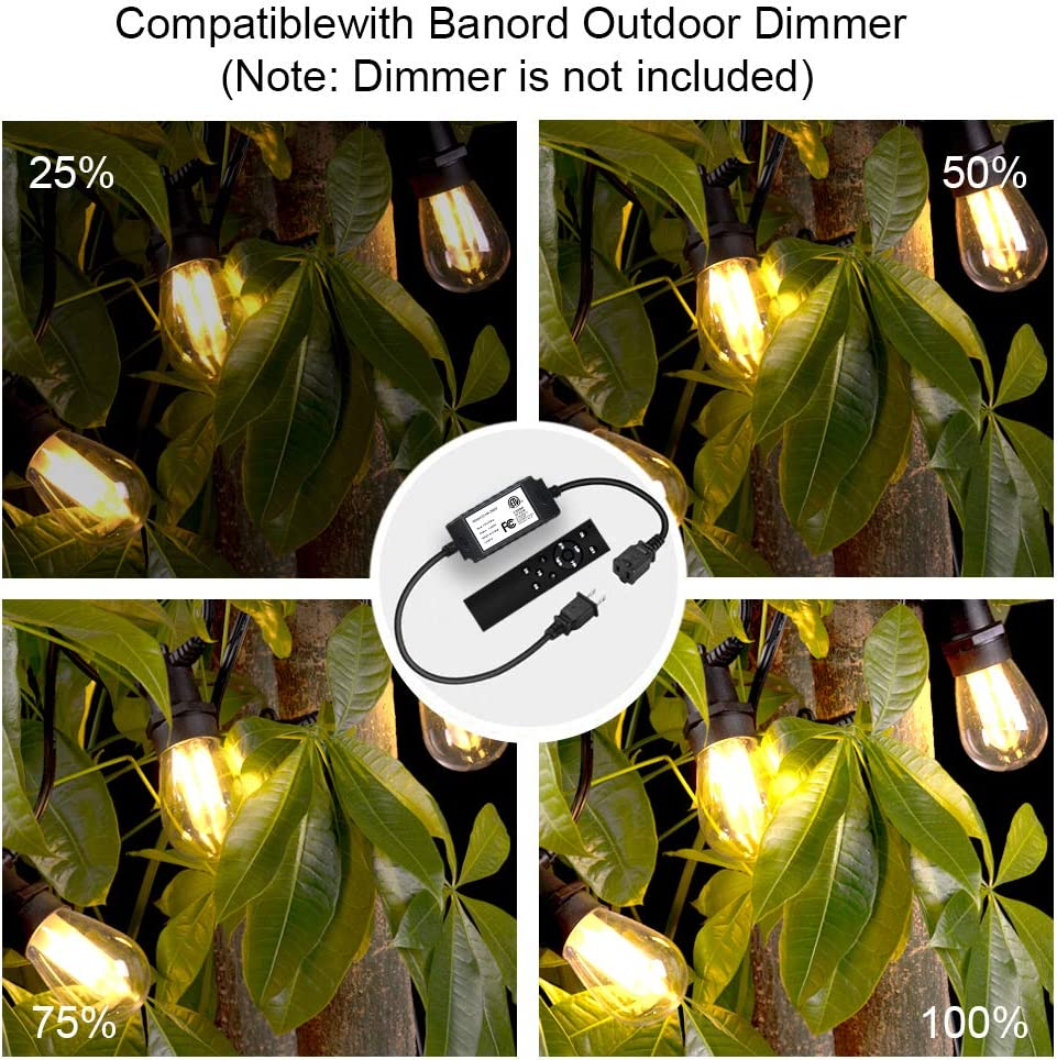 Banord 51FT LED Outdoor LED String Lights, Waterproof Patio Lights with 2W Dimmable S14 Bulbs UL Listed Heavy-Duty Outdoor Lights String for Porch Deck Backyard - -