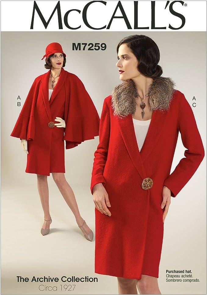 1920s Patterns – Vintage, Reproduction Sewing Patterns McCalls Patterns M7259 Misses Coat Detachable Cape & Collar E5 (14-16-18-20-22)  AT vintagedancer.com