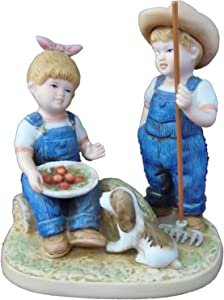 """Homco Denim Days 5"""" Porcelain Figurine ; """"Summer Harvest"""" with Debbie & Danny"""