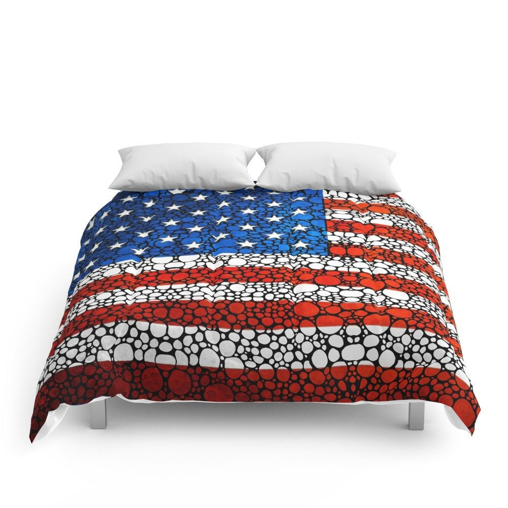 "Society6 American Flag - USA Stone Rock'd Art United States Of America Comforters Queen: 88"" x 88"""