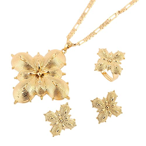 Amazoncom New Ethiopian Jewelry Set 24k Gold Plated African Trendy