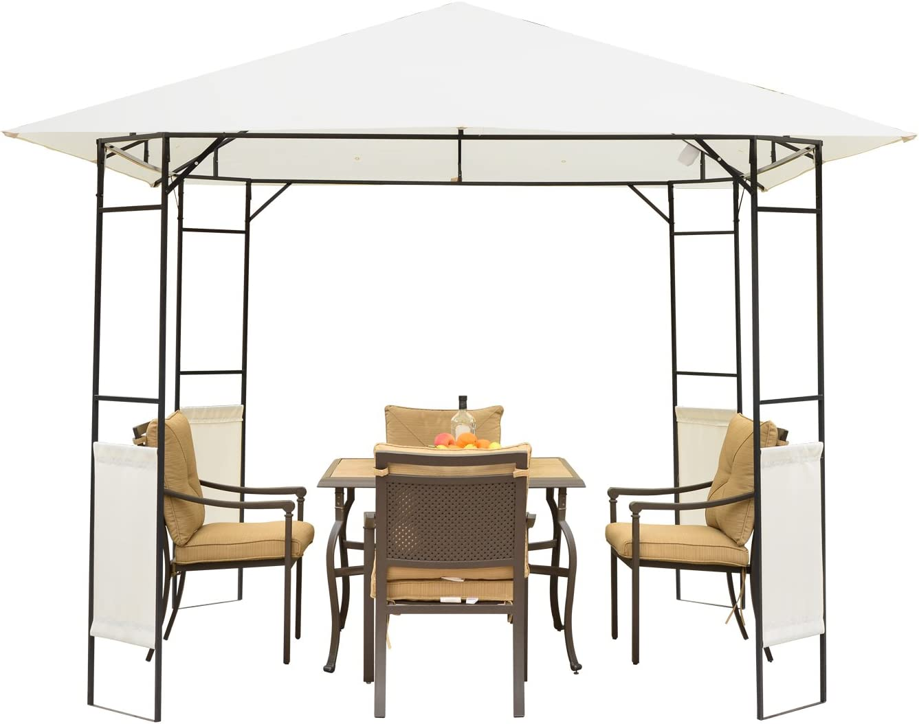 Outsunny Patio Garden Metal Gazebo Marquee Steel Frame with Canopy Awning Tent Water Resistant Cream