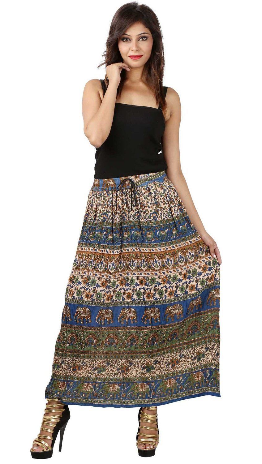 Shree Ram Impex Women's Gypsy Boho Hippie Skirt Ankle Length 36 Inches (Multicolored)