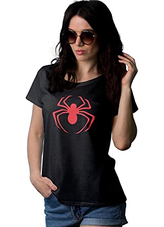 bd2633361963a Amazon.com  Spider Superhero Shirts for Women - Adult Ladies Black ...