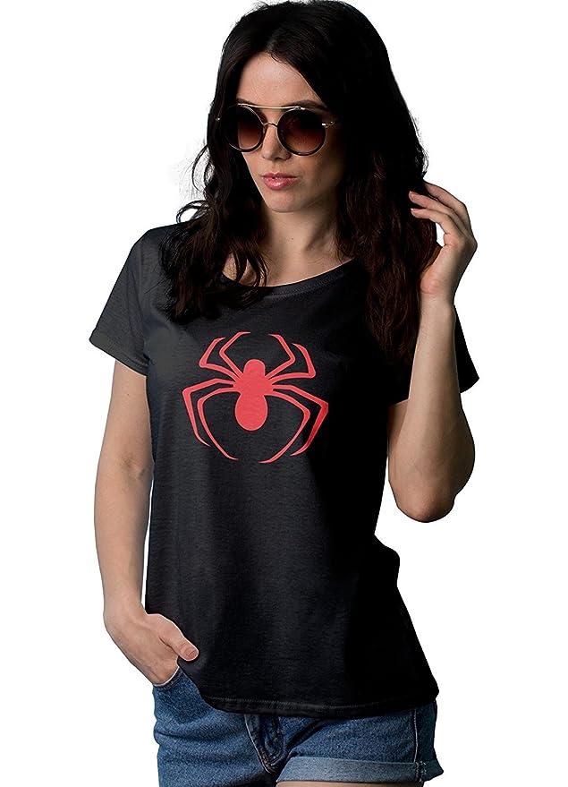 07cc9755a Amazon.com: Spider Superhero Shirts for Women - Adult Ladies Black Short  Sleeve Novelty Graphic Tees: Clothing