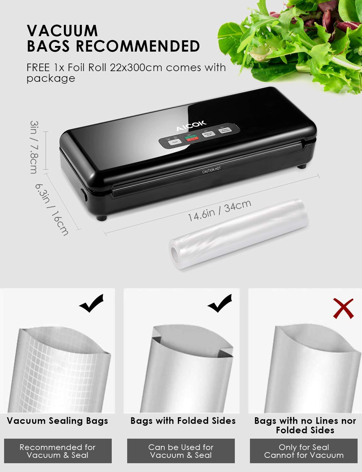 Aicook Vacuum Sealer Machine, Bag Cutter Automatic Food Sealer, Pulse Vacuum Function Food Savers w/Starter Kit|Led Indicator Lights|Easy to Clean|Dry & Moist Food Modes| Compact Design by AICOOK