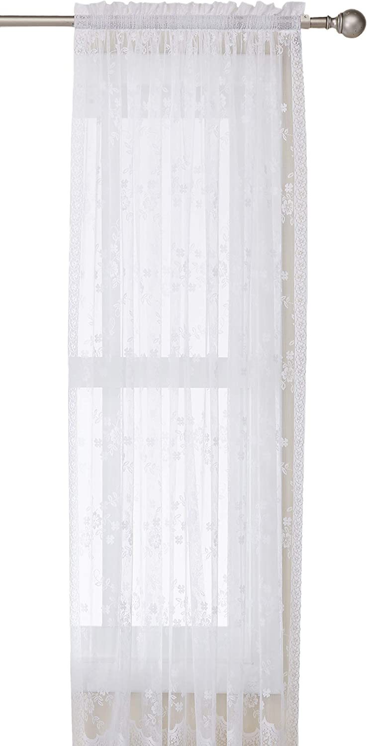 Common Wealth Home Fashions Mona Lisa Lace Window Panels, 56 by 63-Inch, White