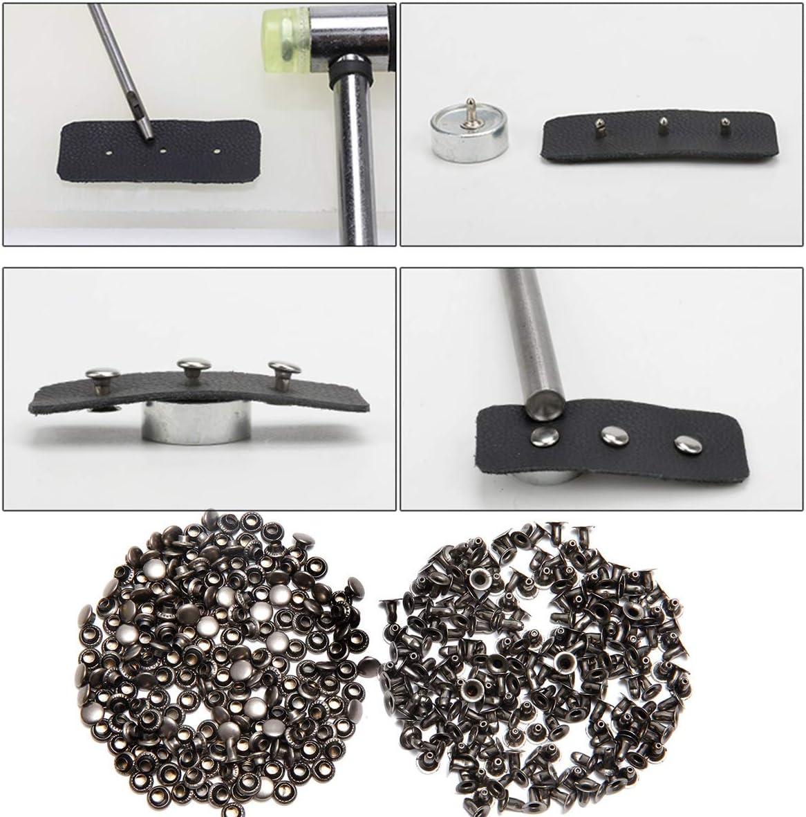 200pcs Leather Rivets Snap Fasteners Kit Single Cap Rapid Rivet Metal Stud Fasteners Round Cap for Bag Belt Wallet Leather Craft Gunmetal Black, 6MM Leather Rivets Kit