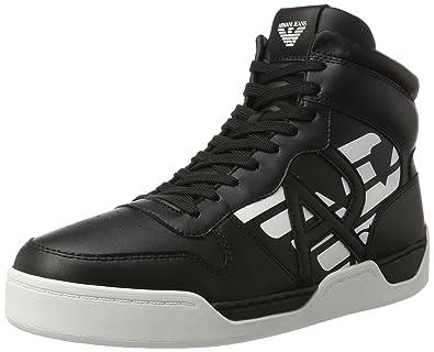 Mens Sneaker High Cut Hi-Top Trainers, Black Armani Jeans