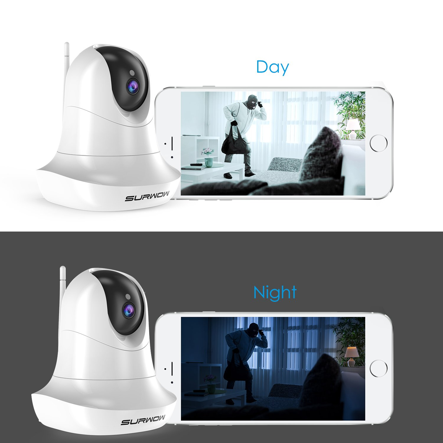 SURWOW Wireless IP Camera -1080P Wifi Surveillance Cameras Wireless HD with 2 Megapixel,Night Vision, Zoom/Pan/Tilt Control, Two-Way Audio for Baby,Pet Monitor and Home Security (WHITE) by SURWOW (Image #6)