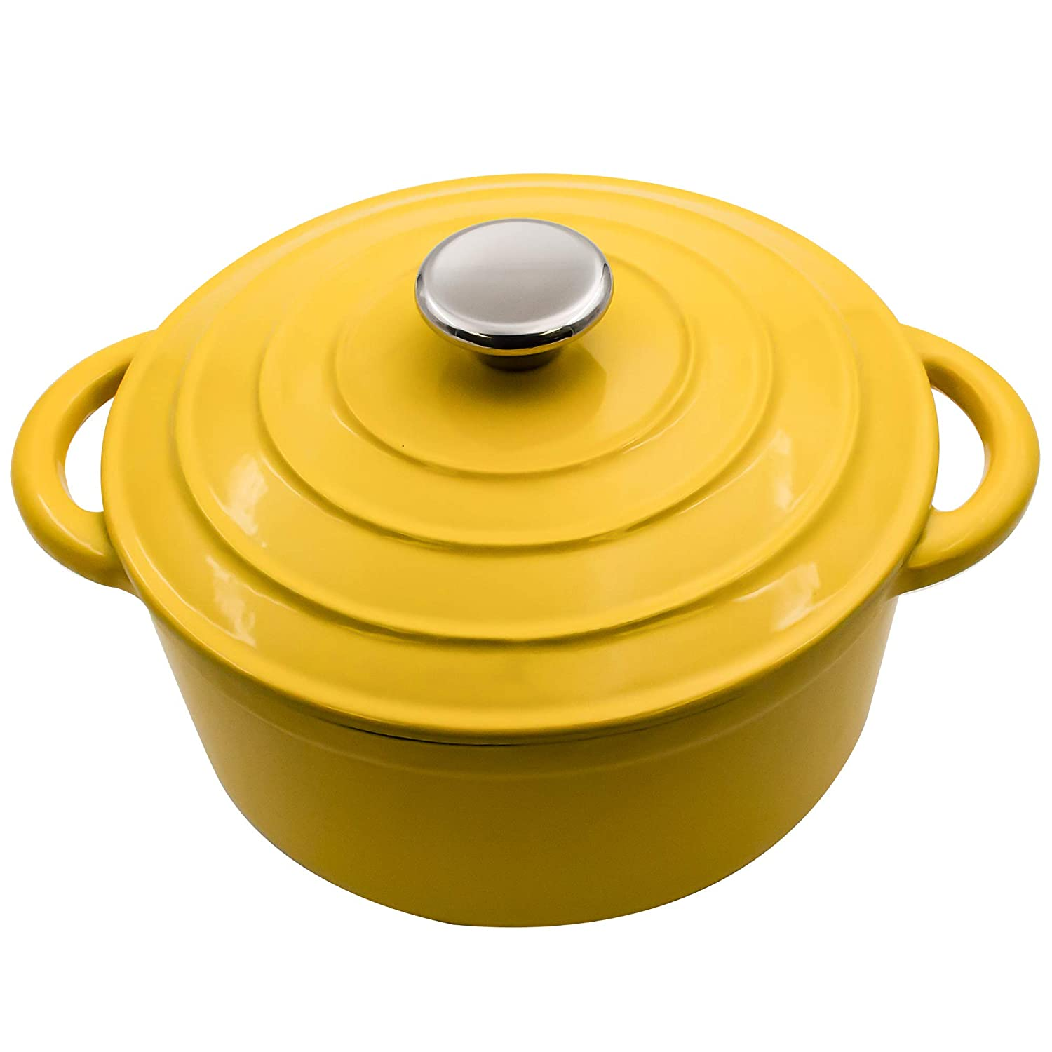 3-Quart Enameled Dutch Oven Yellow - Ceramic Strew Pots, Bread Baking Vessels