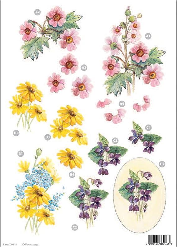 3d Die-Cut Decoupage Sheet 8.3X11.69-Floral Morning Glory /& Daisies