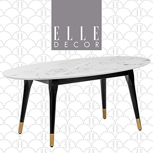 Elle Decor Clemintine Mid-Century Modern Living Room Furniture Collection, Oval Coffee Table, Marble