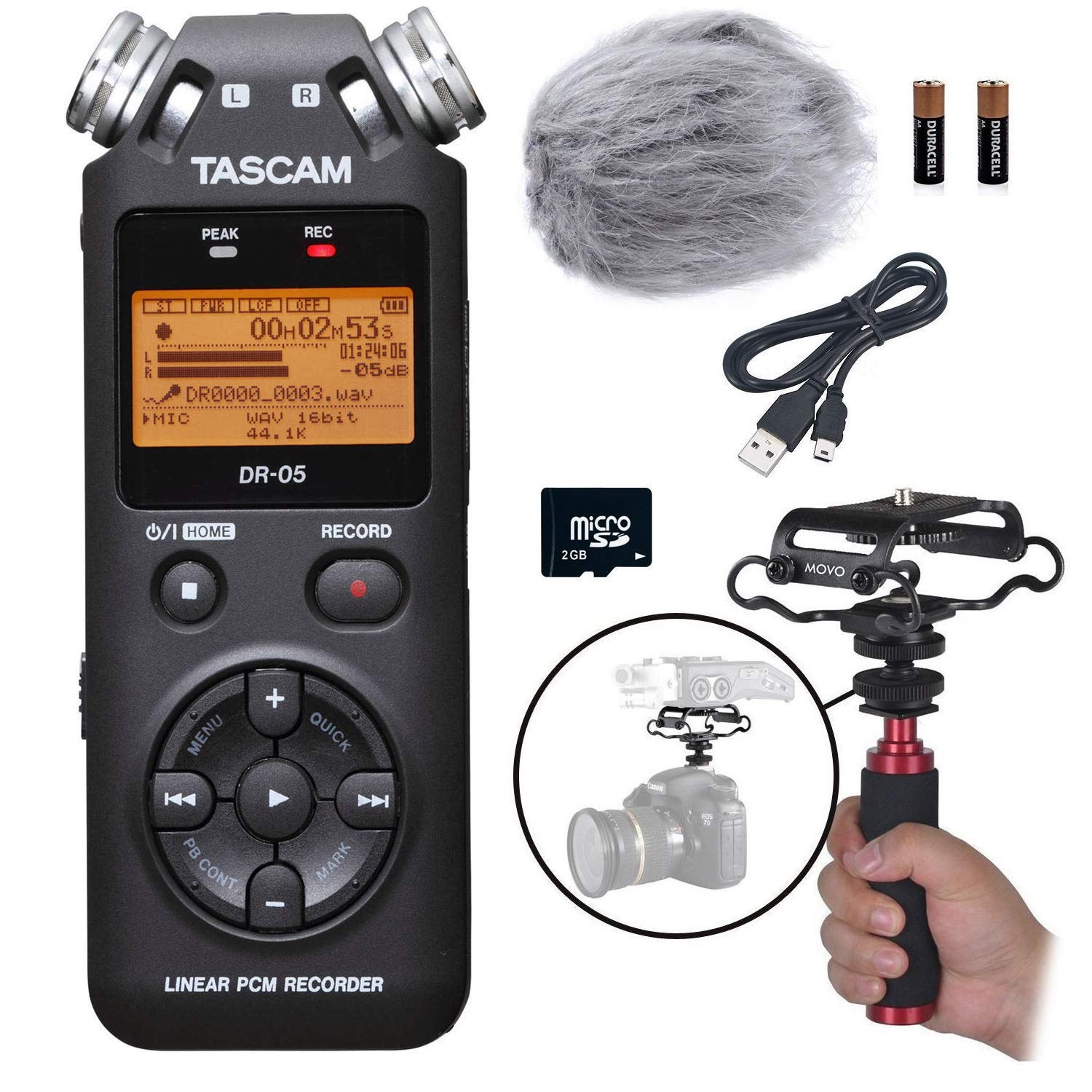 Tascam DR-05 Portable Handheld Digital Audio Recorder Bundle with Movo Deadcat Windscreen, Shockmount, Camera Mount and Mic Grip (Version 2 / Black) MZK-TASDR05
