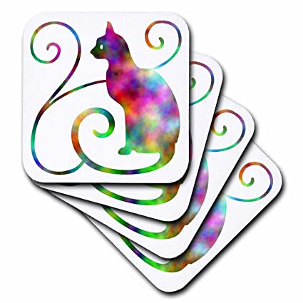 Set of 4 CST/_220828/_3 3dRose Rainbow Effect Cat Silhouette with Swirls Ceramic Tile Coasters