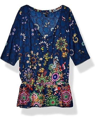 30789e98e76 Desigual Top Swimwear Melina Woman Blue Blouse Femme