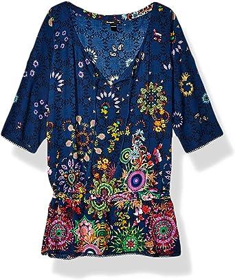Desigual Top Swimwear Melina Woman Blue Blusa, Azul (Navy 5000), S para Mujer: Amazon.es: Ropa y accesorios
