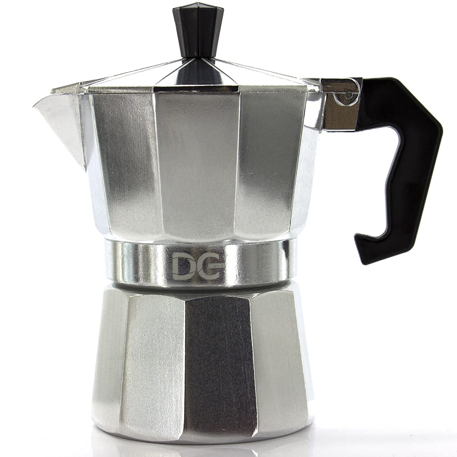 Espresso Coffee Maker in Aluminum, with Handle, 1/2 Cups - 9 Moka Coffee Cups, Cappuccino, Napoletana, Silver Color, 1 Cup 901711
