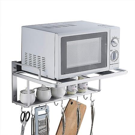 MICROWAVE OVEN RACK Estanterías para Horno Microondas,Soporte De Pared De Almacenamiento para La Cocina para Cocina,Acero Inoxidable,para Microondas Y con Dos 2 Niveles,para Colgar En La Pared: Amazon.es: Hogar