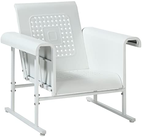 Crosley Furniture Veranda Metal Outdoor Single Glider Chair   Alabaster  White