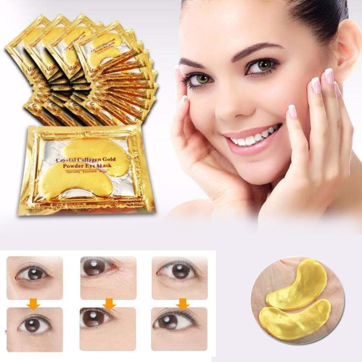 24k Gold Eye Pads-30 Pairs Collagen Eye Mask Powder Crystal Gel For Anti-Aging & Moisturizing Reducing Dark Circles, Puffiness, Wrinkles by INSANY by INSANY (Image #3)