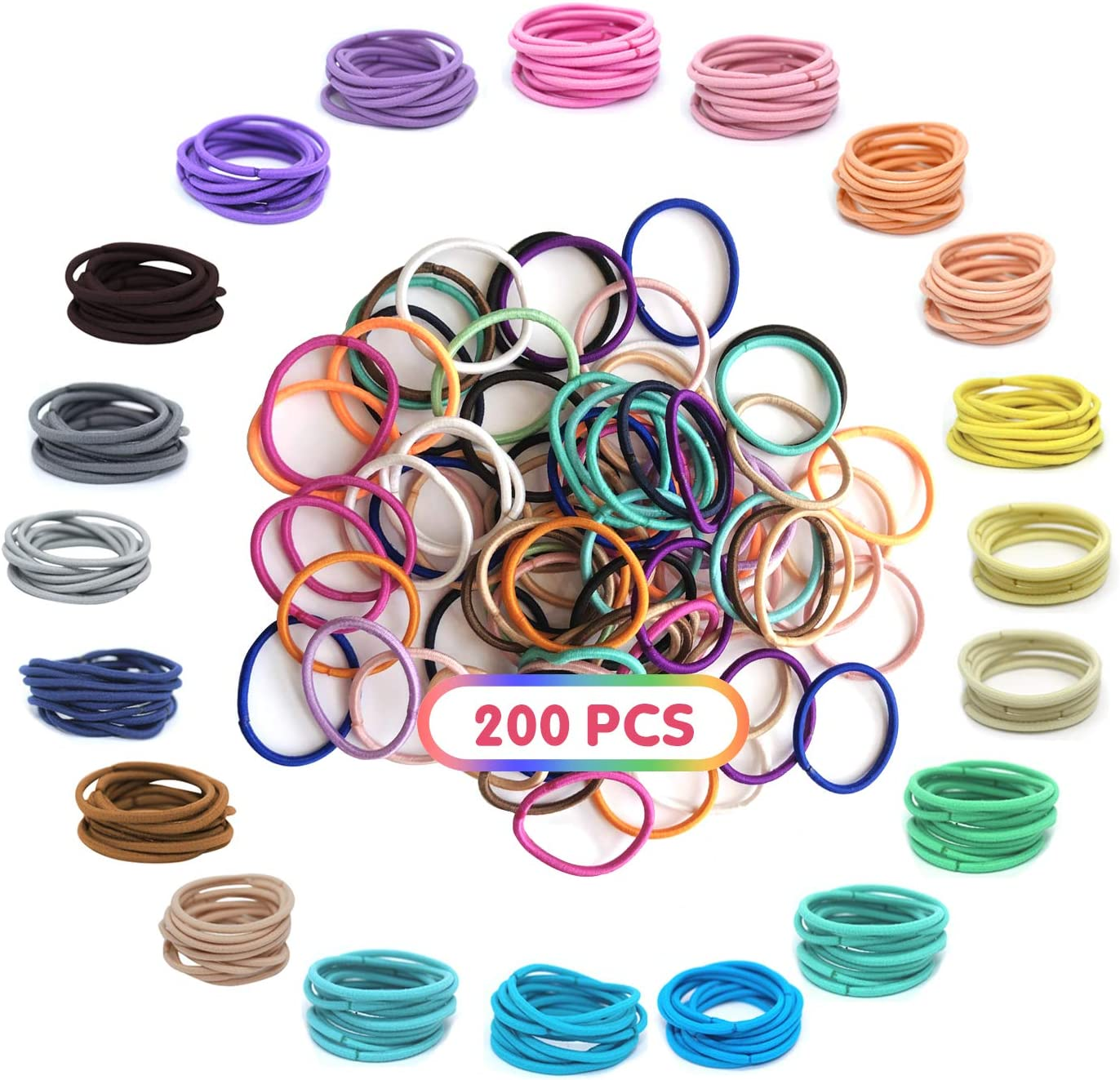 XCOZU Corbatas de pelo, 200 piezas Lazos para el Cabello del Bebé Elásticos, Multicolores andas para el cabello de cola de caballo finos para niñas pequeñas (2.5cm x 0.2cm)
