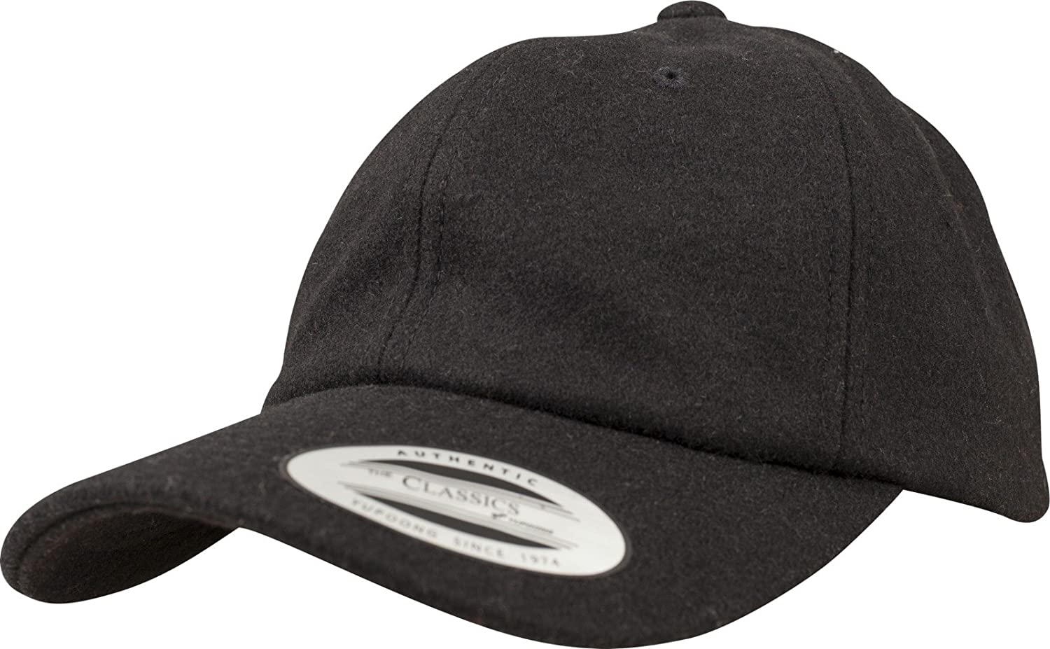 3e13131df9a85 Flexfit Low Profile Melton Wool Strapback DAD Cap - Black - One Size at  Amazon Men s Clothing store