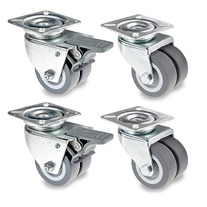 4x Lenkrollen mit Bremse 50mm Transportrollen Schwerlastrollen Möbelrollen