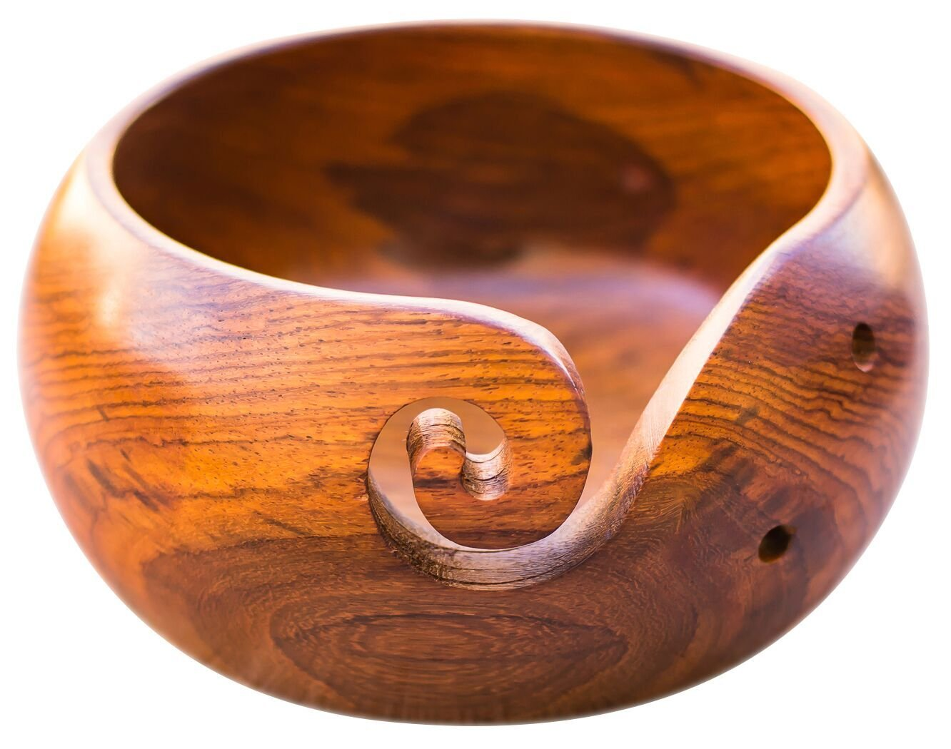 Wooden Yarn Bowl Holder Rosewood - Knitting Bowl With Holes Storage - Crochet Yarn Holder Bowl - Perfect For Mother's Day! Craft Mamas