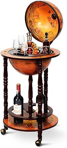 Goplus 17″ Wood Globe Wine Bar Stand 16th Century Italian Rack Liquor Bottle Shelf
