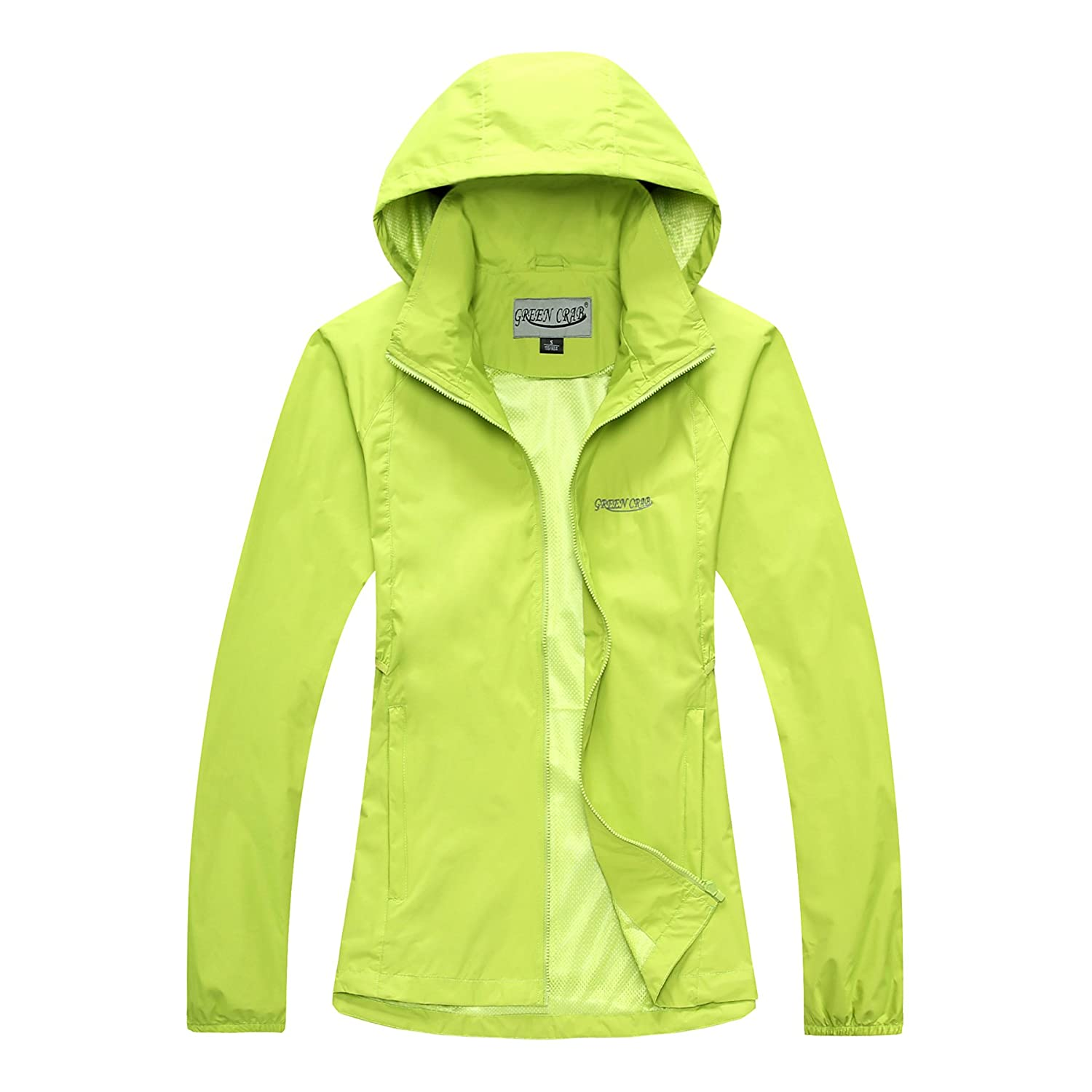Green Crab Womens Windproof Waterproof Rain Jacket Lady Hooded Breathable Coat at Amazon Womens Clothing store: