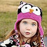 Cute Baby Girl Boy Crochet Hat Kids Knit Handmade Cap (Rose red+black)