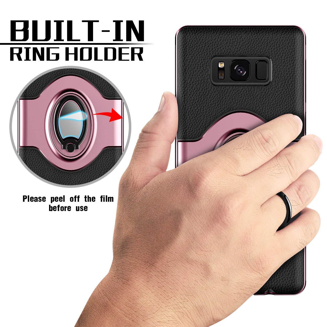 emobilepress 044S8P Dashboard Magnetic Phone Car Mount Navy Blue Samsung Galaxy S8 Plus Case eSamcore Ring Holder Kickstand Cases