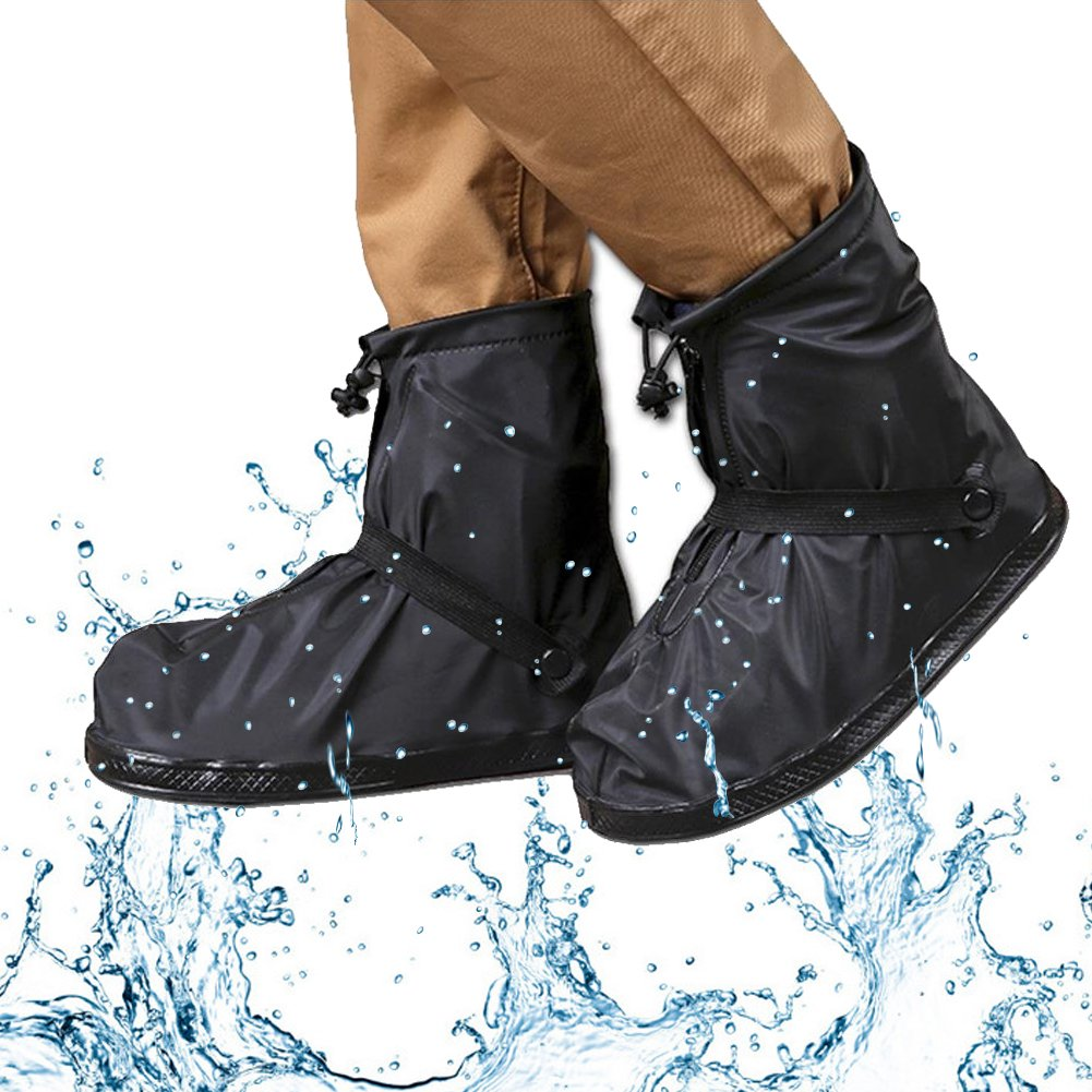 Waterproof Shoe Covers, Meiwo Anti-slip Reusable Rain Shoe Covers Waterproof Adjustable Zippered Shoes for Man Women