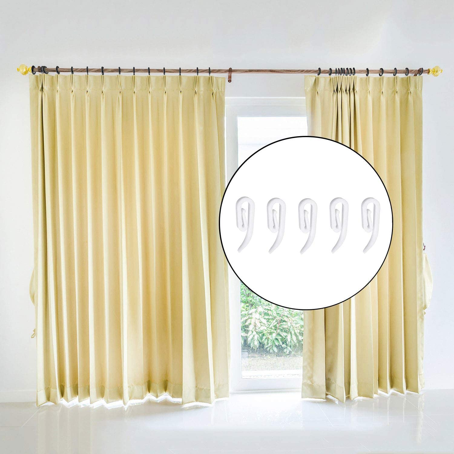 BSTHP Plastic Curtain Hooks for Window Door Curtain and Shower 100Packs, 2.8 x1.2 cm, White