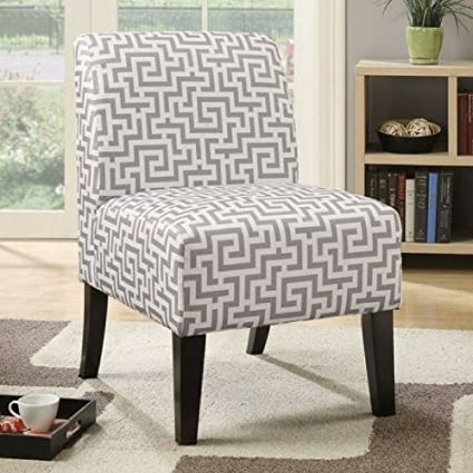 Beau ACME Ollano Fabric Slipper Chair, Maze Grey And White