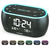 Housbay Glow Small Alarm Clock Radio for Bedrooms with 7 Color Night Light, Dual Alarm, Dimmer, USB Charger, Battery Backup,