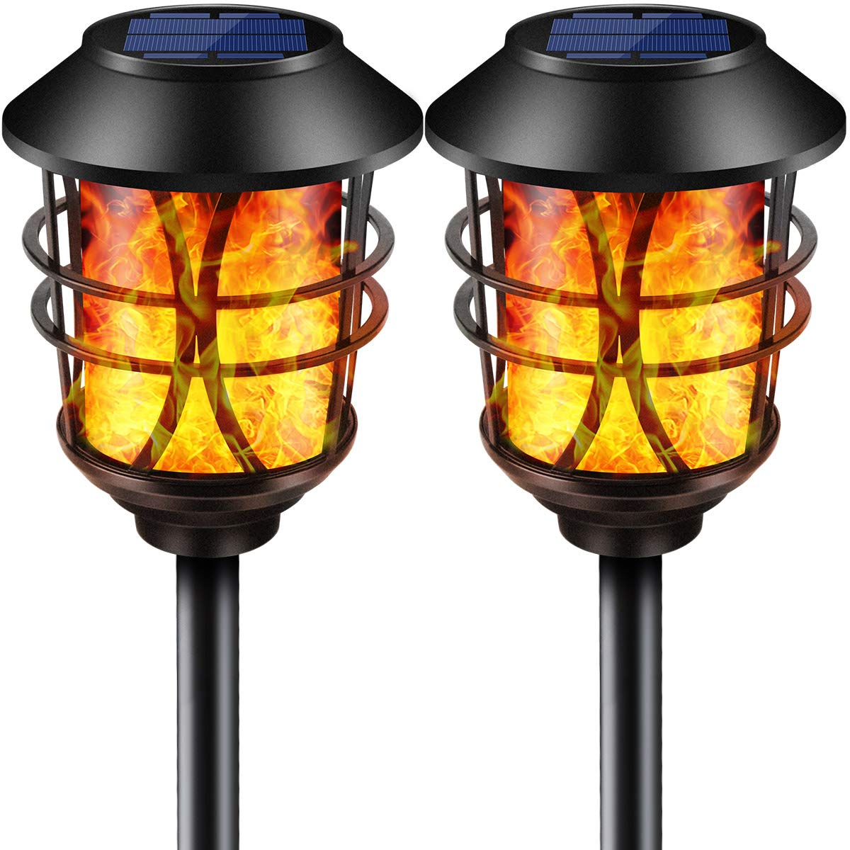 TomCare Solar Lights Metal Flickering Flame Solar Torches Lights Waterproof Outdoor Heavy Duty Lighting Solar Pathway Lights Landscape Lighting Dusk to Dawn Auto On/Off for Garden Patio Yard, 2 Pack by TomCare (Image #1)