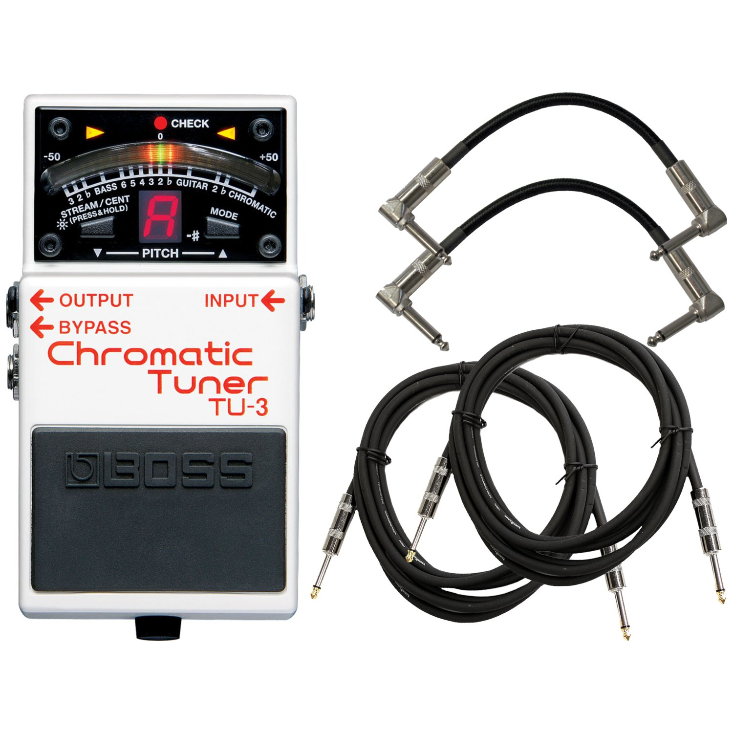 Boss TU-3 Tuner Pedal w/4 FREE Cables by BOSS Audio