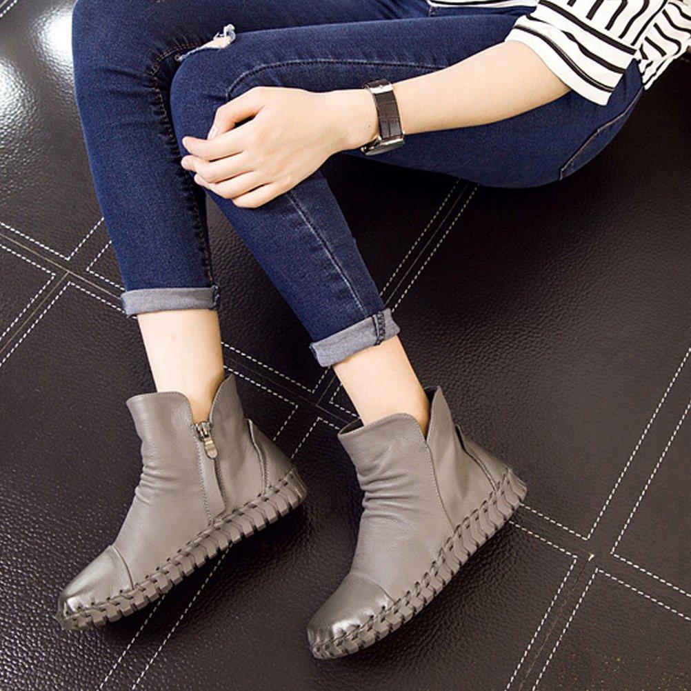 Mordenmiss Women's New Fall Winter Martin Flat Plain Toe Boots B01L3E8CFQ US 8.5-9//CH 40|Style 2 Gray
