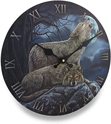 """Lisa Parker's """"Two Wolves and Moon"""" Circular Wooden Wall Mount Clock by FANTASY GIFTS"""
