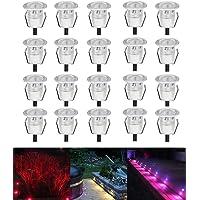 Lot de 20 LED Spot de lampe au sol - RGB/RVB Ø30mm Eclairage Encastrables extérieur pour Terrasse Enterre, IP67 Etanche DC12V Lumière Moderne pour Chemin Escalier Paysage Etape