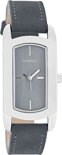Oozoo Damenuhr mit Lederband 24 x 37 MM Blaugrau/Blaugrau C8378