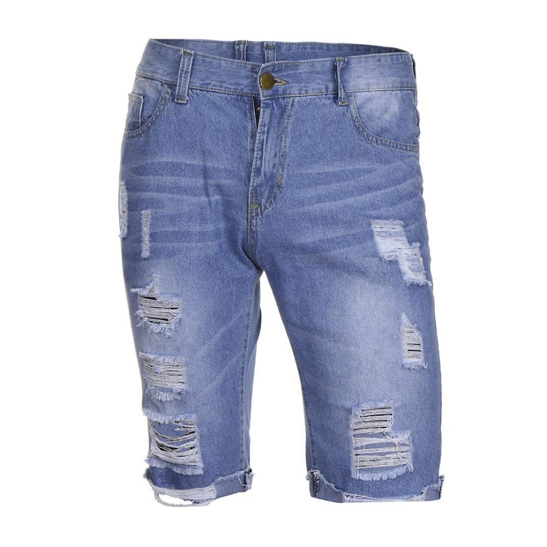 5916f61a954c Ansenesna Hosen Herren Jeans Kurz Zerrissen Locker Destroyed Freizeithose  Männer Knielang Denim mit Reisverschluss  Amazon.de  Bekleidung