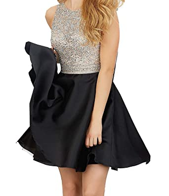 Weddings & Events Steady Black 2017 Elegant Cocktail Dresses Sheath Cap Sleeves Short Mini Crystals Open Back Homecoming Dresses