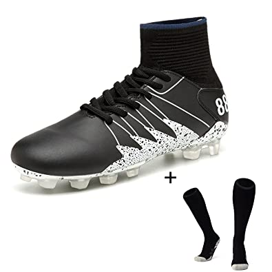 be590ce71 BARKOR Men's Athletic New Soccer Shoes Rubber Sole Spike Outdoor Sports  Shoes Performance High top Non